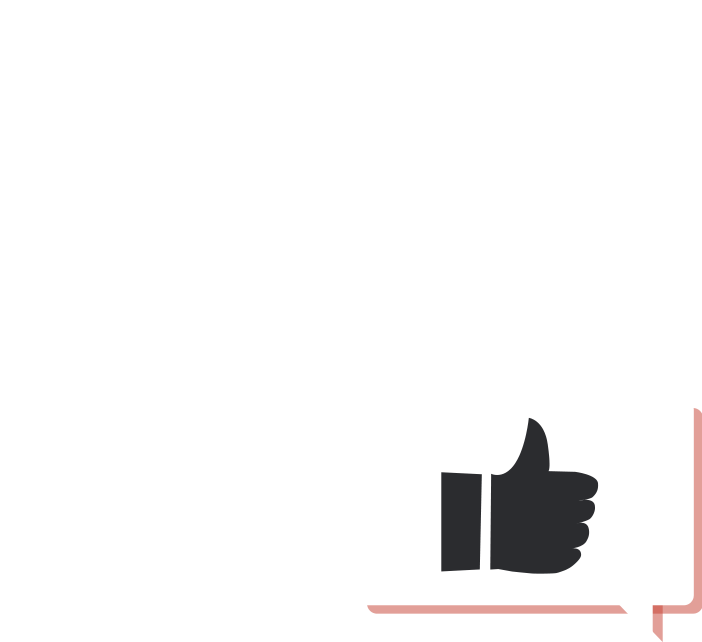chat bubble with thumbs up