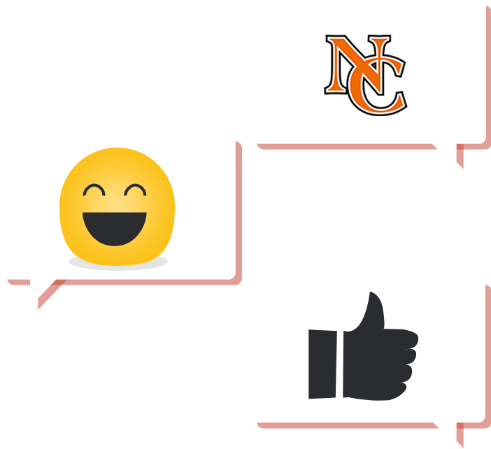 Three Chat Bubbles with NC logo in one, smiley face in one, and thumbs up in one